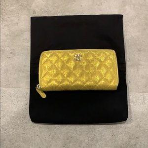 Chanel Yellow Metallic Wallet